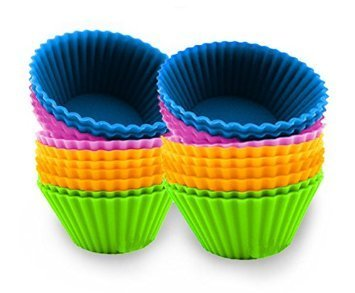 Simple & Sweet (4 Color) Food Grade Silicone Baking Muffin Cupcake Liner Mold Set, 24 Piece