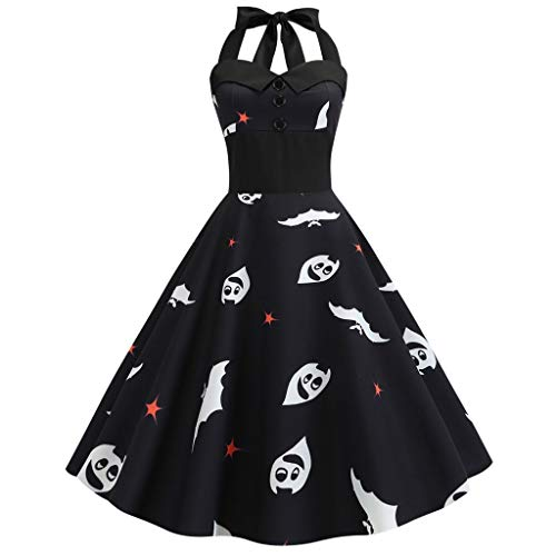 Costumes Columbia Mall - Aunimeifly Women's Halter Bandage Off-The-Shoulder Dress Vintage Halloween Print Button Ladies Swing