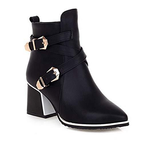 JOYBI Women's Round Toe Ankle Booties Faux Leather Buckle Strap Low Block Heel Short Boots Western Chelsea Bootie