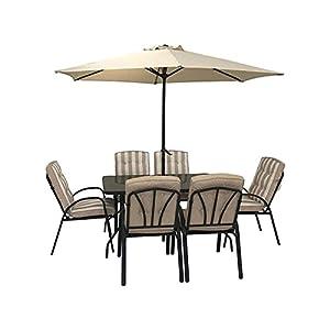HECTARE Hadleigh Garden 6 Seater Dining Set and Parasol