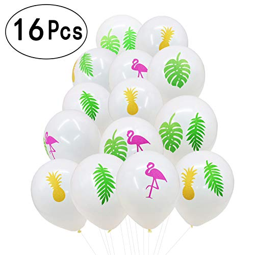 Summer Hawaiian Flamingo Pineapple Tropical Leaves Latex Helium Balloons Pink Glitter Gold Jungle Luau Tiki Beach Wedding Party Favors Baby Shower Party Decorations, 16 Ct