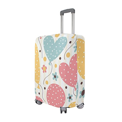 Cute Striped Birthday Love Heart Suitcase Luggage Cover Protector for Travel Kids Men Women by ALAZA (Image #1)