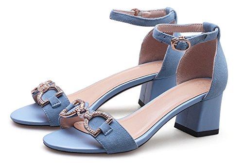 Bleu Strass Bal Métal Boucle Bride Aisun Avec Femme Mode Cheville Sandales qSacvTB