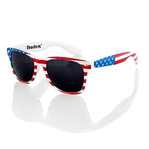 American USA Flag Retro 80's Sunglasses Classic America Patriotic Classic Sunglasses Eyewear by Shaderz
