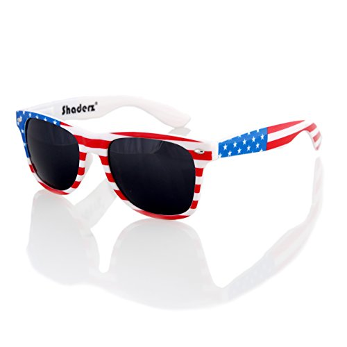 American USA Flag Retro 80's Sunglasses Classic America Patriotic Classic Sunglasses Eyewear by - Sunglasses Usa