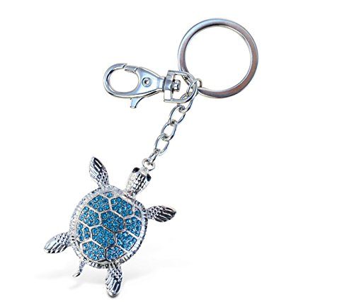 Blue Sea Turtle Sparkling Charm Elegant Key Chain by Animal World (Tortoise Costumes)
