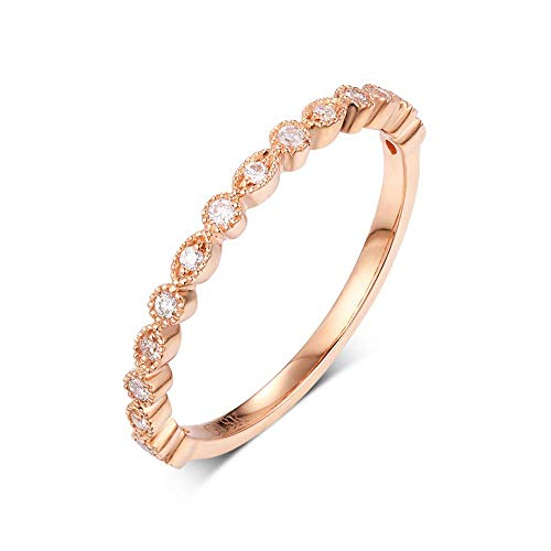 Natural diamond wedding band 0.12ct 18k rose gold simple gift women ()