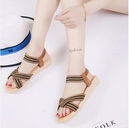 di Roman estate 2611 40 elastico fondo yalanshop Brown piatto Roma di raccordo sandals solido sandali colore pesce semplice tSnvxw