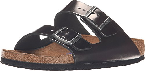Birkenstock Unisex Arizona Metallic Anthracite Leather Sandals - 5-5.5 2A(N) US Women