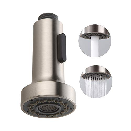 (HOMELODY Pull Down Faucet Replacement Head, 2 Functions Kitchen Faucet Sprayer Head, G 1/2 Pull Out Spray Head for Kitchen Faucet, Brushed Nickel Kitchen Sink Faucet Head, cabeza de reemplazo del grif)