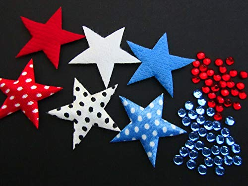 90 July 4 Red,Navy,White Patriotic USA Felt Star Applique+Rhinestone/Craft #ID-1108 ()