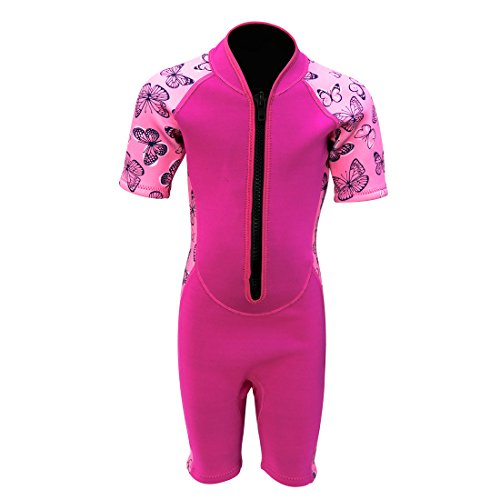 Kids Wetsuit Shorty Thermal Swimsuit, 2mm Neoprene Wetsuit One Piece Front Zip for Girls Toddler Youth Swimming Surfing Dving Snorkeling, SS005 (Pink, ()