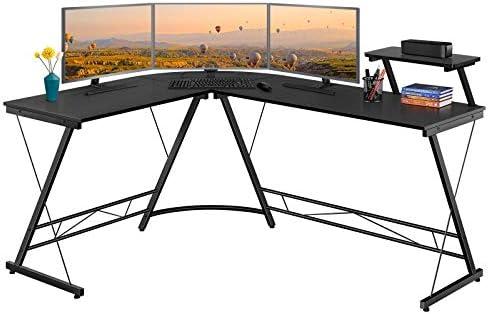 YAHEETECH 64 inch Modern Corner Computer Desk