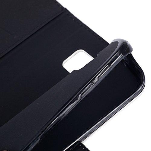 Funda para [Samsung Galaxy S6 Edge] ,ETSUE PU Cuero Cover Case para Samsung Galaxy S6 Edge,Funda de Cuero Pintado de Moda Patrón con la Mariposa Protector de Funda para telefono movil para Samsung Gal Colorido Pluma