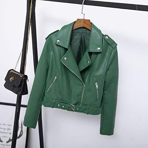 Otoño Femenino De nspiyi Cinturón Solapa Pequeño Cuero Verde Chaqueta Corto Y Xl Clásico Yw8dtY