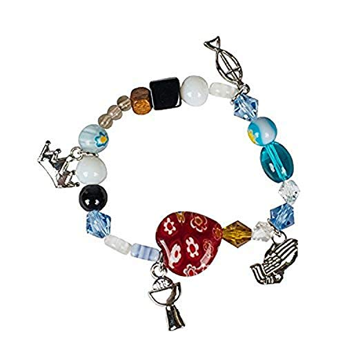 Communion Story Colored Glass Beaded Girl's Stretch Fashion Bracelet in Giftbox (Communion First Beaded Bracelet)