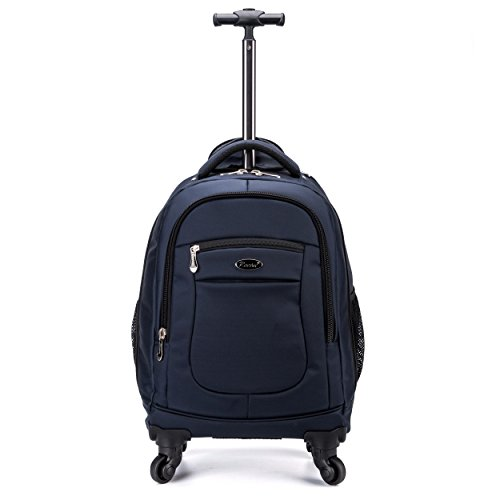 Racini Nylon Waterproof Rolling Backpack, Freewheel Travel School Wheeled Backpack, Carry-on Luggage with Anti-theft Zippers(Navy) - Laptop Bag Wheels