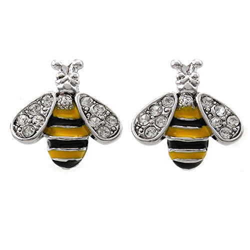 [Honey Bumble Bee Charm Stud Post Earrings Insect Animal Costume Fashion Jewelry for Women Girls] (Women's Bumblebee Costume)