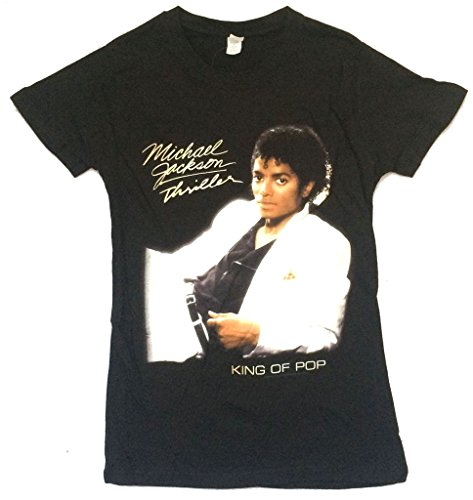 Michael Jackson Thriller King of Pop Girls Juniors Black T Shirt (M)