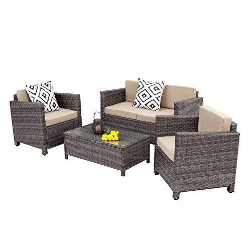 Wisteria Lane Outdoor Patio Furniture Set, 4 Piece Rattan Wicker Sofa Cushioned with Coffee Table, Grey Wicker (Chair Room Garden Dining Classics)