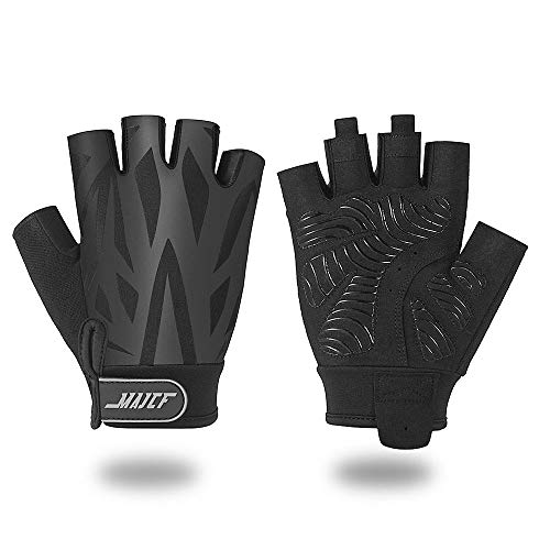 MAJCF Cycling Gloves Mountain Bike Gloves Bicycle Gloves, Half Finger Road Riding Gloves Anti- Slip Shock-Absorbing Pad Breathable Sports Gloves Accessories for Men/Women(Black/1, L)