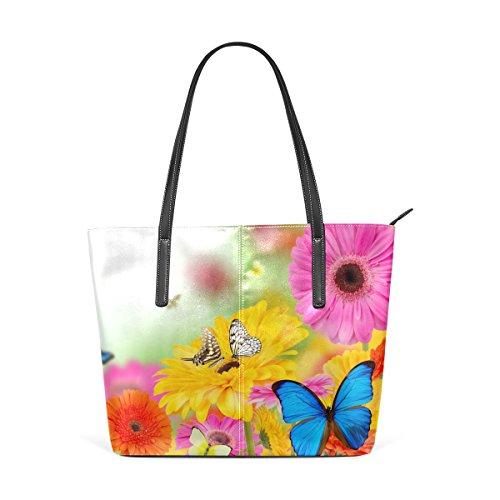COOSUN Frühlingsblumen und Schmetterlinge PU Leder Schultertasche Handtasche und Handtaschen Tasche für Frauen