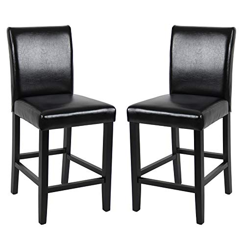 GOTMINSI Classic 24 Inches Counter Height Stools Upholstered Bar Stools with Solid Wood Legs and Black Leather, Set of 2 (Black)