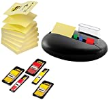 3M Stone Promotion PBL100-P Post-it Index and Notes Dispenser 6 Blocks 4 x 50 and 4 x 35 Adhesive Strips Black