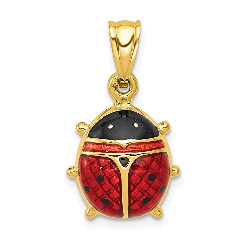 14K Yellow Gold Enameled Ladybug Charm Pendant from Roy Rose Jewelry ()