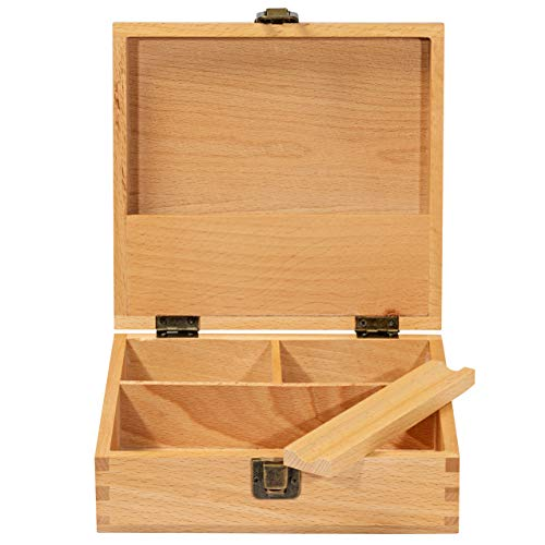 "Stash Box Large with Rolling Tray Combo– Handmade Decorative Stash Box - 7.5"" x 7"" Beech Wood Box - Storage Box (Storage Tray Large)"
