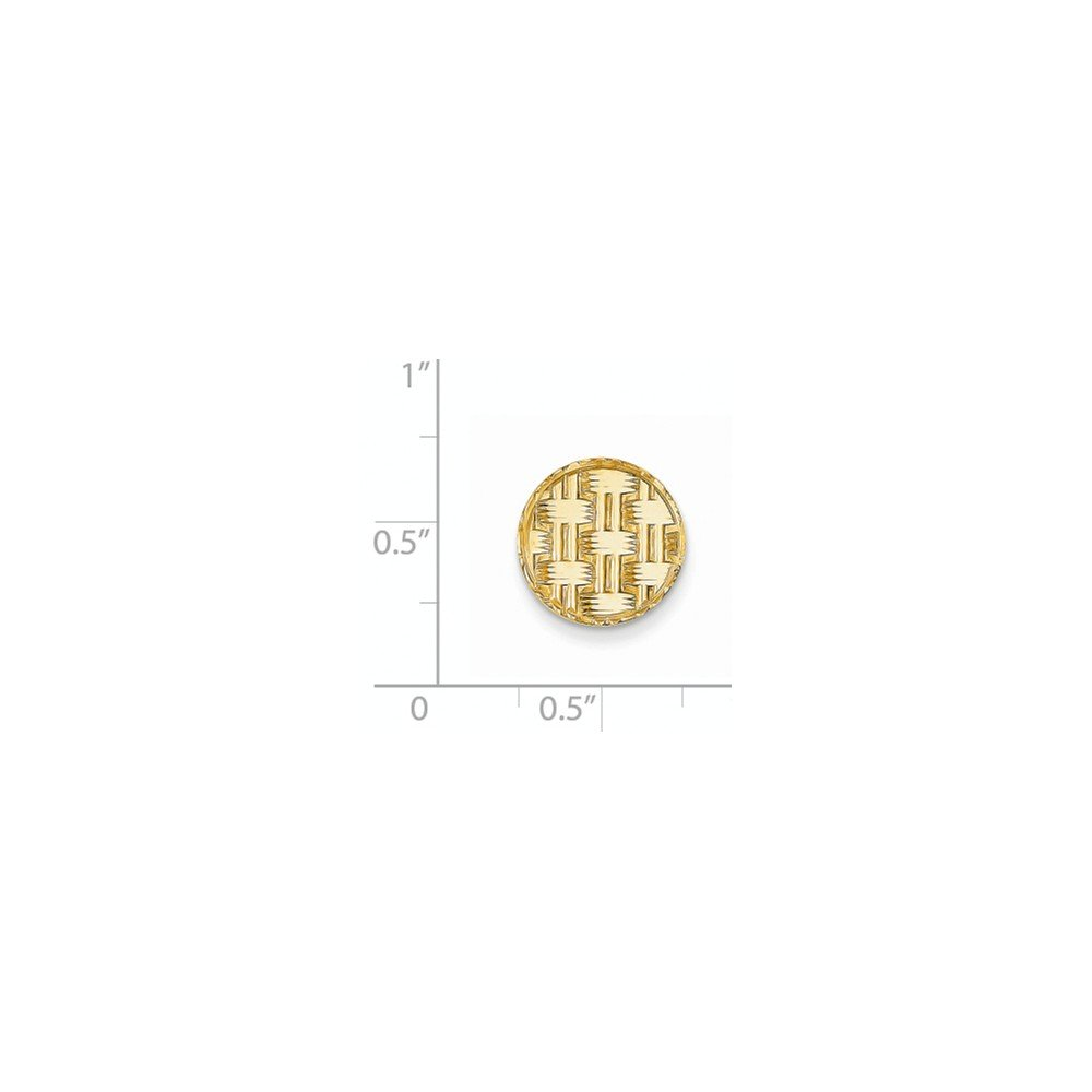 14K Yellow Gold Circular Tie Tac with Basketweave Design by CoutureJewelers (Image #2)