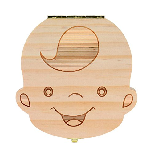 Baby Tooth Box,Gbell Kids Milk Teeth Organizer Save Wood Storage Box for Baby Boy&Girl ()