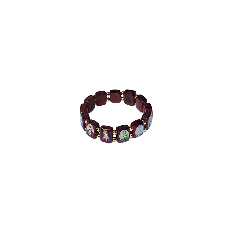 Catholica Shop Catholic Religious Wear Small Panel Wooden Elasticated Bracelet With Assorted Colored Images of Catholic Saints