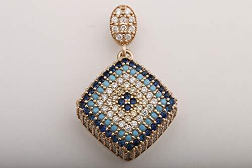 (Evil Eye Protection Design Turkish Handmade Jewelry Round Cut Turquoise Sapphire Citrine White Topaz 925 Sterling Silver Rhodium)