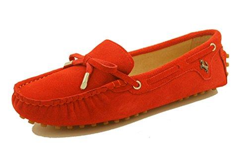 Cuir Minitoo Fille Nœud Femme Daim Pastèque Appartements En Rouge Des Bateau Décontracté Chaussures Confortable Pour Mocassins qA1ngqw0