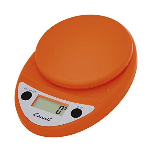 Escali Primo P115PO Premium Kitchen Food Scale for Baking and Cooking, Lightweight and Durable Design, LCD Digital Display, Lifetime ltd. Warranty, Pumpkin Orange