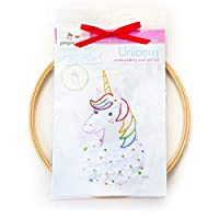 Unicorn Hand Embroidery DIY Craft Wall Art Kit, beginner learn to embroider French knot, backstitch, lazy daisy flower stitch, 8 inch hoop, 6 strand cotton floss thread, needle, kids crafts boys girls