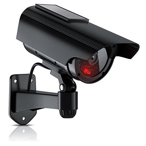 Brandson - Solar Kamera Attrappe | Überwachungskamera-Attrappe | Power LED-Anzeige | simuliertes Betriebslicht + Kabelimitation | Solarpanel