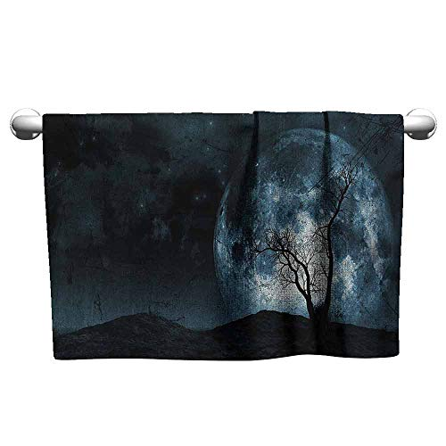 Mannwarehouse Fantasy Beach Activity Bath Towel Night Moon Sky with Tree Silhouette Gothic Halloween Colors Scary Artsy Background W27 x L55 Slate Blue]()