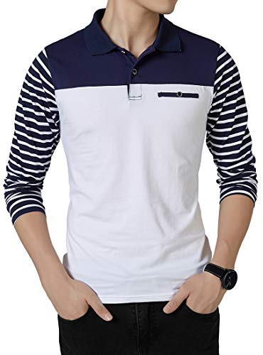 Lovelelify Mens Polo Shirts Casual Long Sleeve Stripe Slim Fit Shirt US M/Asian 2XL White H06