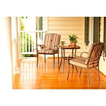 Rachel Ray 3 Piece Cafe Patio Set, Includes 2 Cushioned Chairs W/ Cushions,