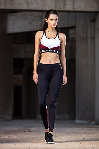Scuro Elasticizzati Yoga Gambali Allenamento E Da Rosso Nero Donna SwxSYnzpZ