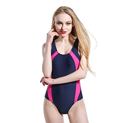 Plano de una sola pieza traje de baño y Spa deportes bikini bañador elástico de costura Pink