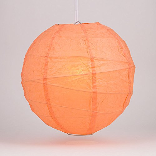 PaperLanternStorecom-12-Peach-Orange-Coral-Round-Paper-Lantern-Crisscross-Ribbing-Hanging-Decoration