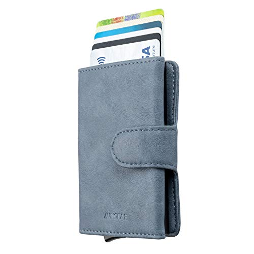 LUNGEAR Credit Card Holder Leather Slim Wallet RFID Blocking Pop Up Aluminum Card Case with Banknote for Men and Women (Airy Blue) (Best Credit Card For 610 Credit Score)