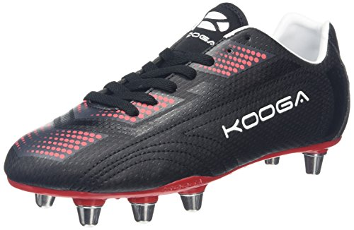 Kooga Blitz 2, Zapatillas de Rugby Hombre Negro (Negro/Rojo)