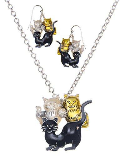 Jewelry Nexus Three-Tone Kitty Cat Friends Necklace & Matching Earring Set