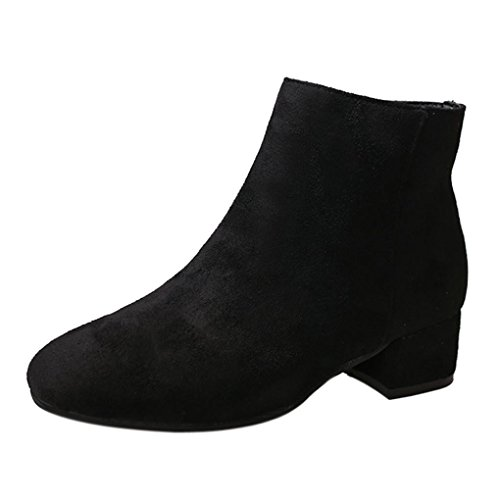 Clearance Sale Womens Girls Ankle Boots, Autumn Winter Casual Zipper Wedges Shoes 5.5-7.5 (Black, US:7) by Aurorax-Shoes
