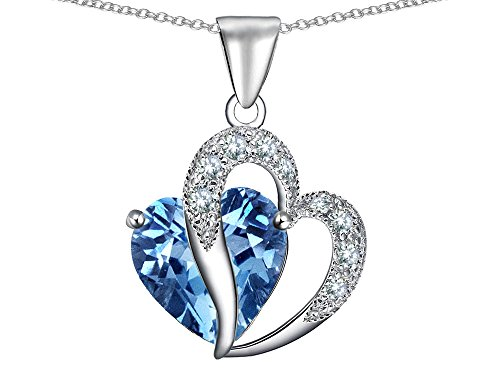 Star K Heart Shape 12mm Simulated Aquamarine Pendant Necklace Sterling Silver
