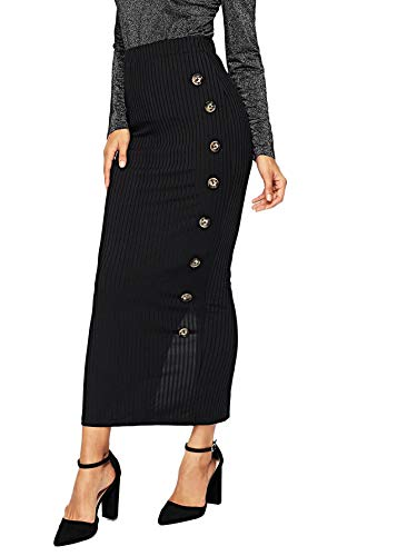 SOLY HUX Women's High Waist Button Split Back Ribbed Knit Bodycon Skirt Black XL